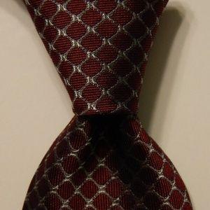 GIANNI VERSACE Men's Silk Necktie Wine/Gray EUC
